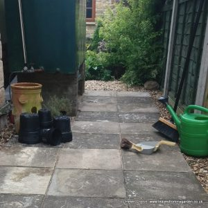 Laying patio slabs for a garden path