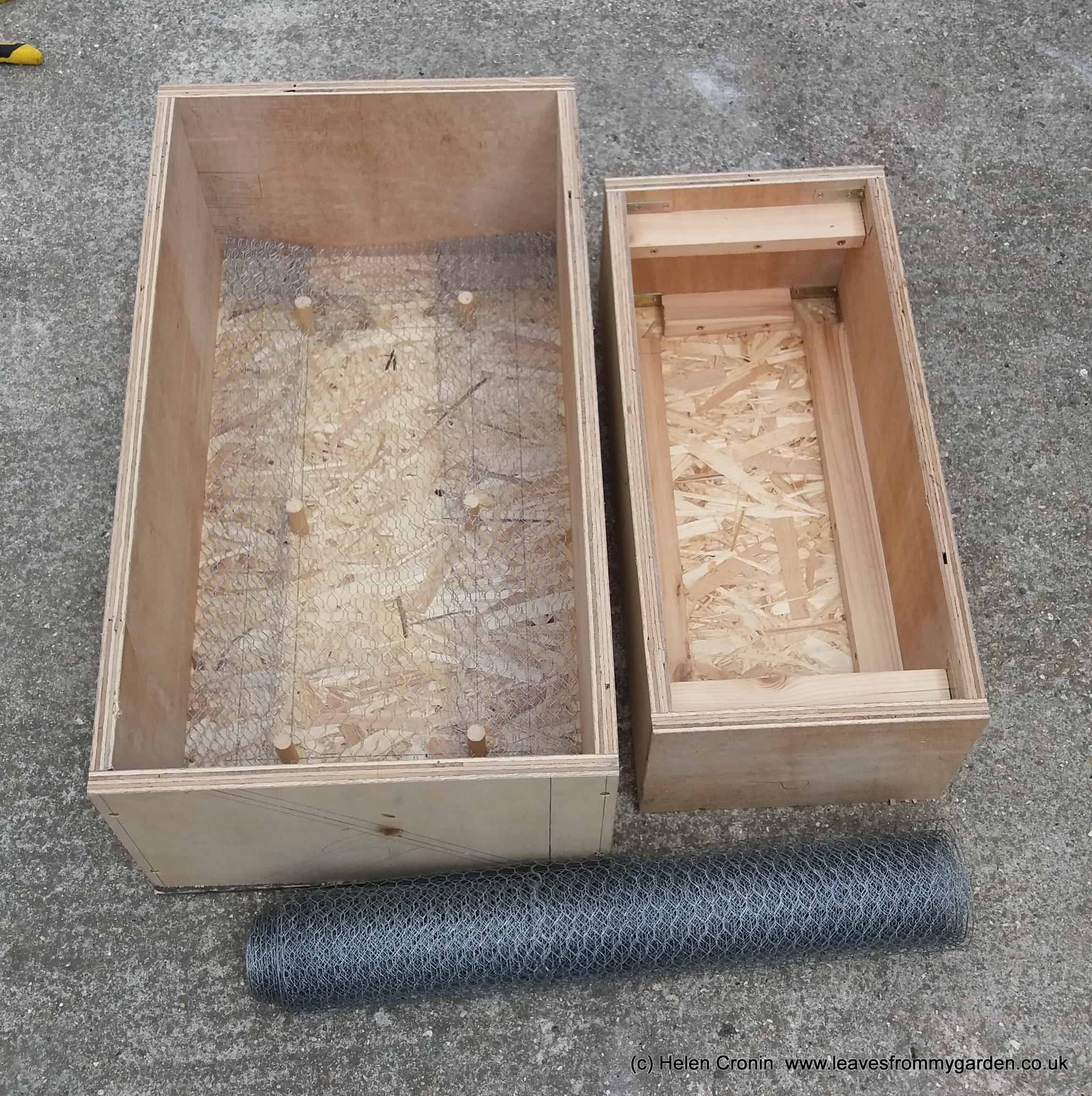 Wooden formers for making hypertufa trough at www.leavesfrommygarden.co.uk